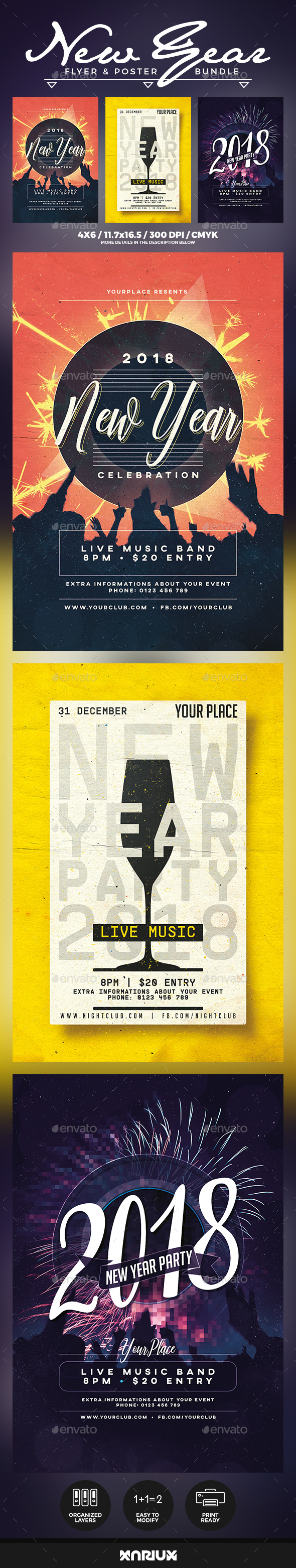 GraphicRiver New Year Flyer & Poster Bundle 21150519