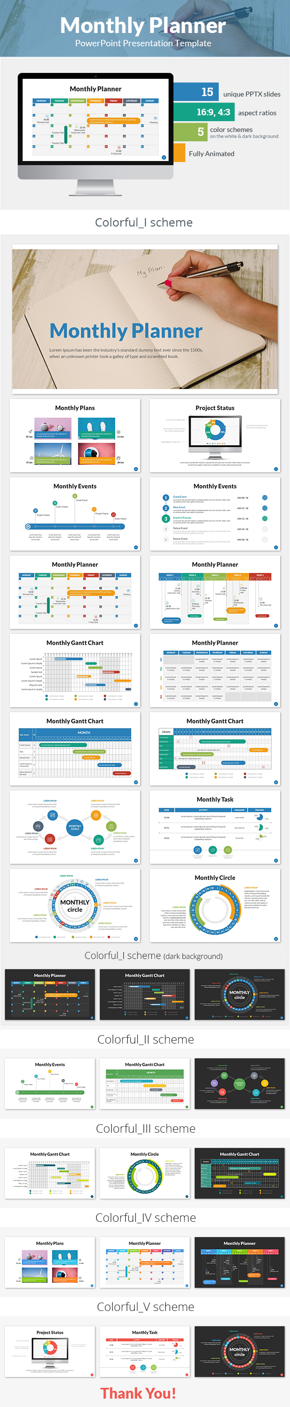 GraphicRiver Monthly Planner PowerPoint Presentation Template 21150737