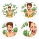 Pop Art Vector Set of Female Round Avatars
