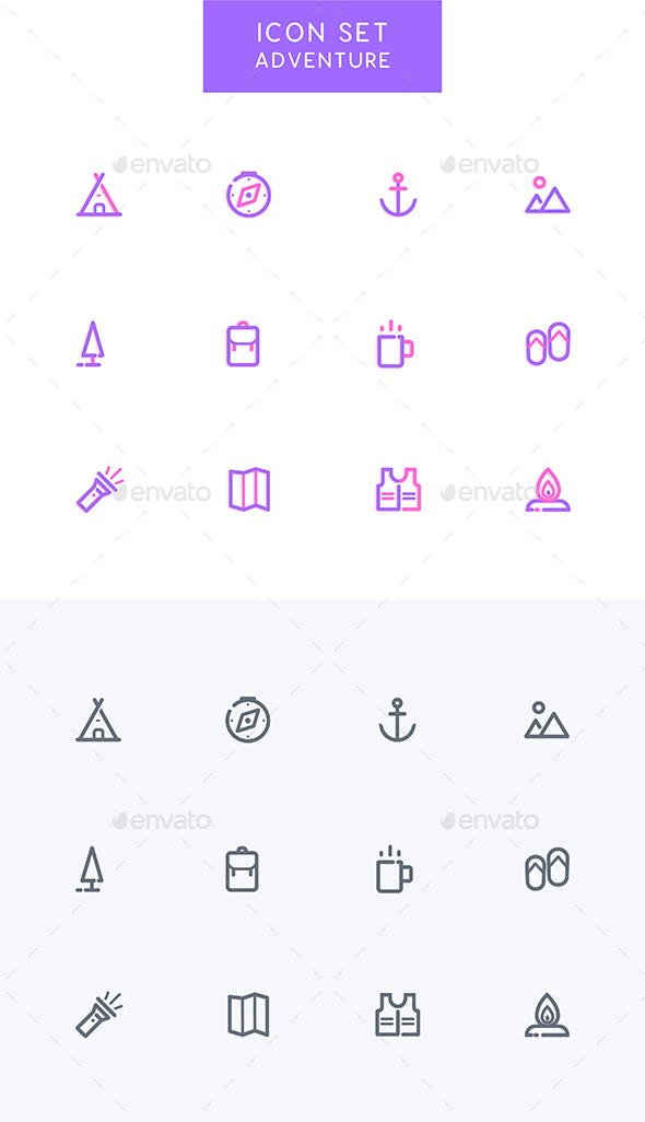 GraphicRiver Adventure Camping Icons Set 21150970
