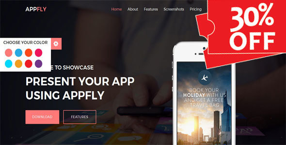 Appfly - Responsive Multipurpose App Landing Template - Technology Site Templates
