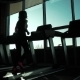 Cardio on the Treadmill. Exercises for Weight Loss. Silhouette of a Girl on a Treadmill - VideoHive Item for Sale