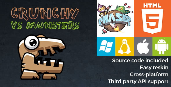 Crunchy vs Monsters - HTML5 Game - Phaser - CodeCanyon Item for Sale