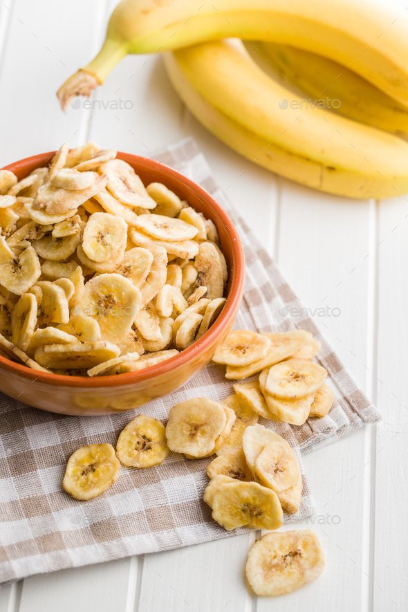 Dried banana chips. - Stock Photo - Images