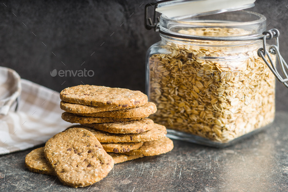 Tasty oatmeal cookies. - Stock Photo - Images