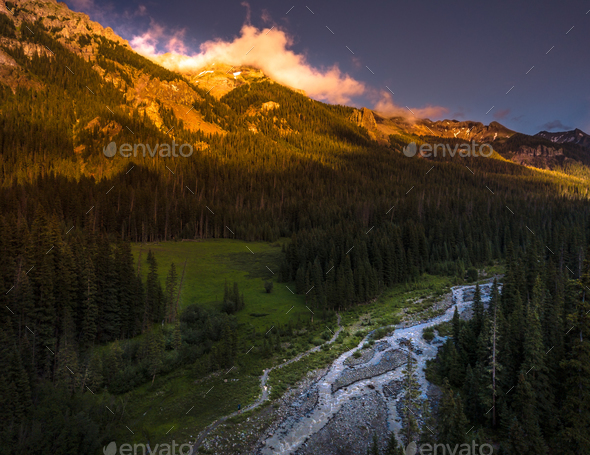 Cimarron River San Juan Mountains - Stock Photo - Images
