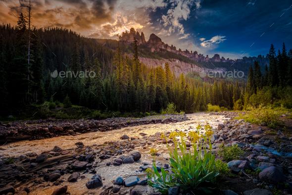 Cimarron River San Juan mountains - Stock Photo - Images