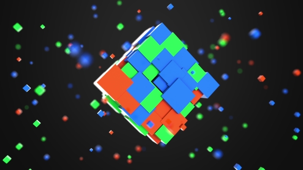 VideoHive Multiple Red Green and Blue Cubes Rotating 21151667