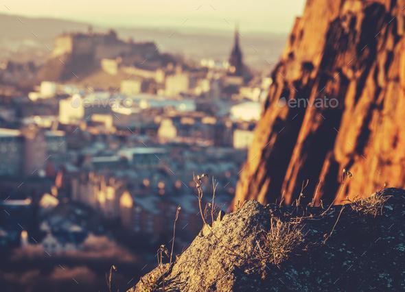 Retro Edinburgh At Dusk - Stock Photo - Images