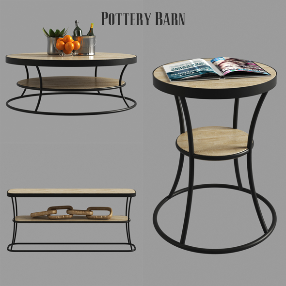 3DOcean Bartlett Reclaimed Wood Coffee Table Side Table Console Table 21151765