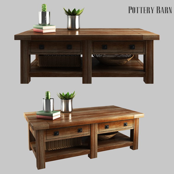 3DOcean Benchwright Rectangular Coffee Table Rustic Mahogany 21151768