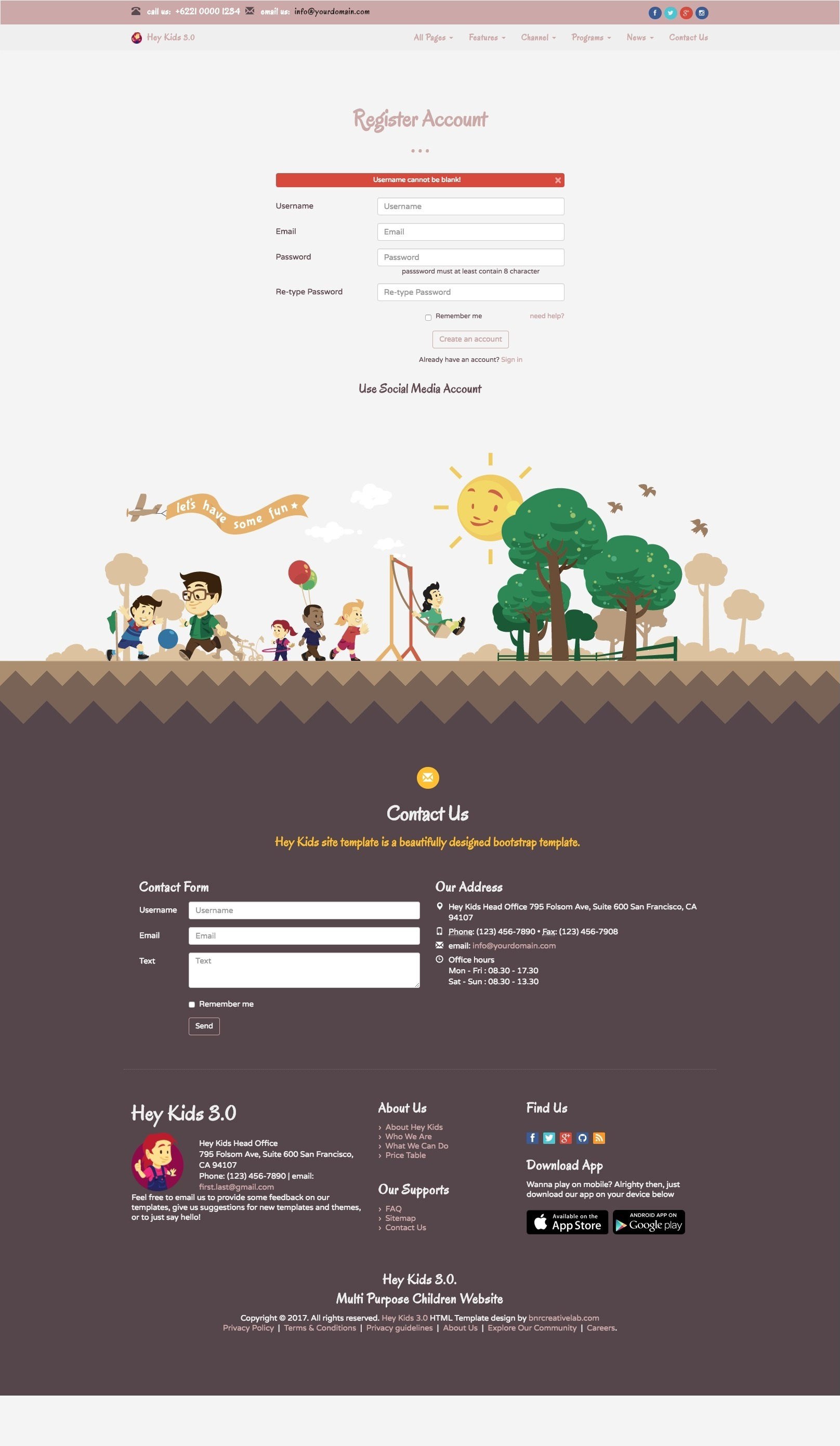 Hey Kids Responsive Multipurpose Children Web By Bnrcreativelab - Privacy policy html template