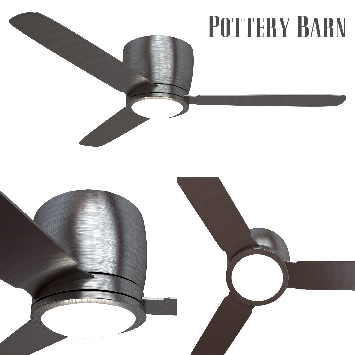 pottery barn ceiling fan brushed nickel by erkin aliyev 3docean rh 3docean net