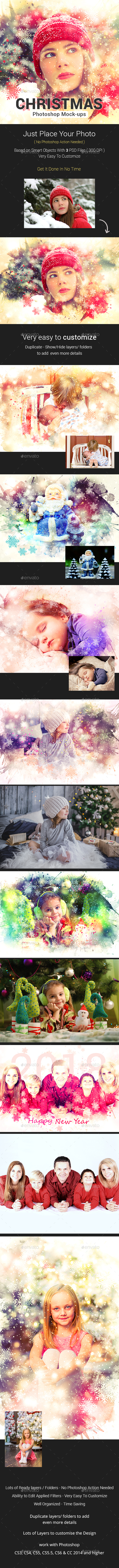 Christmas Photoshop Template Mock-Ups - Photo Templates Graphics