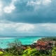 Aerial View Jungut Batu Beach of the Island of Nusa Lembongan in Clouds Weather, Indonesia