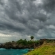 Storm Clouds Over the Nusa Ceningan Island in Cloudy Weather, Bali, Indonesia