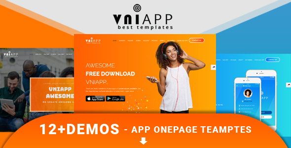 VniApp - Showcase Mobile App HTML Template - Software Technology