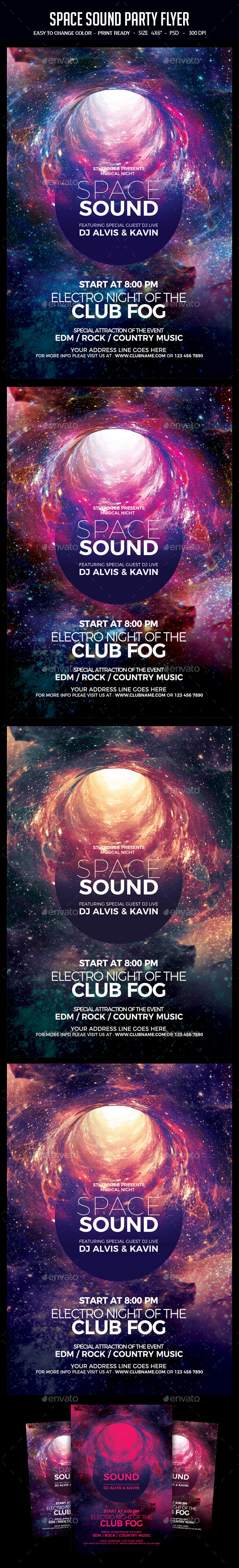 GraphicRiver Space Sound Party Flyer 21152092
