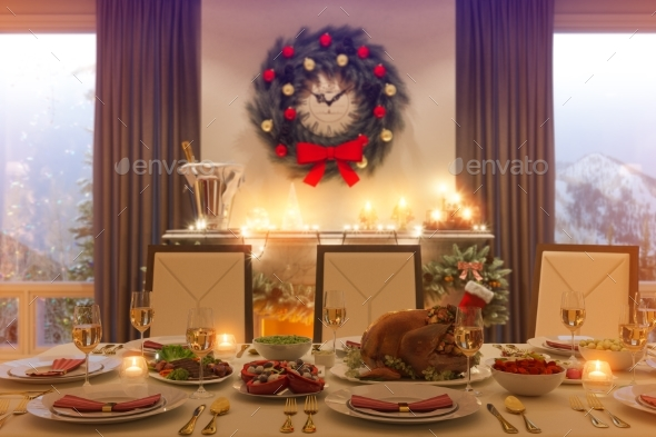GraphicRiver 3D Illustration of a Christmas Family Dinner Table 21152145