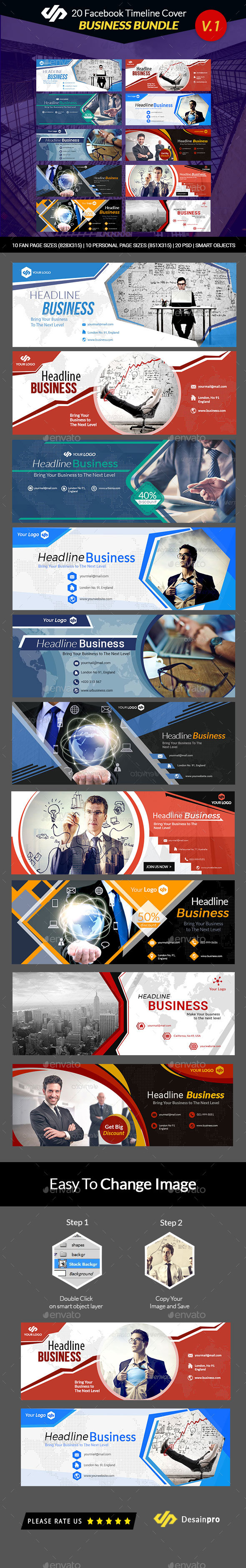 GraphicRiver 20 FB Business Timeline Covers Bundle AR 21152251