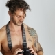 Shirtless Young Man with Professional Photo Camera - VideoHive Item for Sale