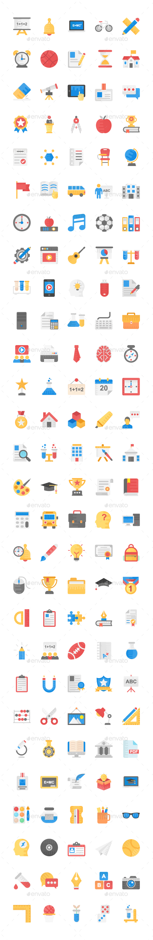 140 Education and School Flat Icons - Icons