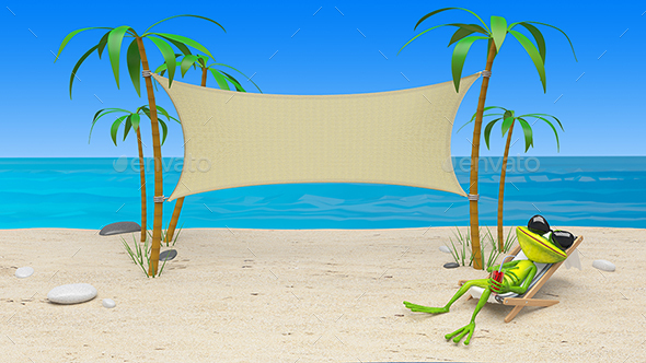 GraphicRiver 3D Illustration of a Frog in a Deckchair on the Beach 21152505