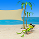 3D Illustration of a Frog in a Deckchair on the Beach