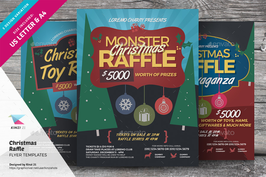 Christmas Raffle Flyer Templates By Kinzishots  Graphicriver