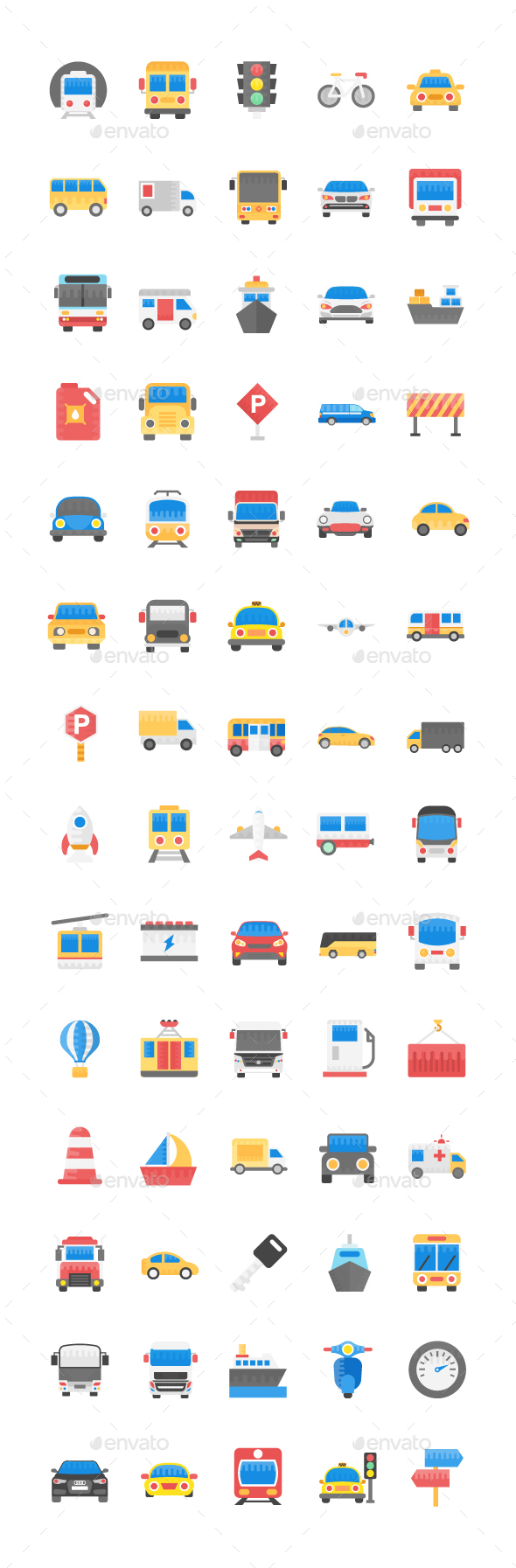 GraphicRiver 70 Transport Flat Vector Icons 21152603