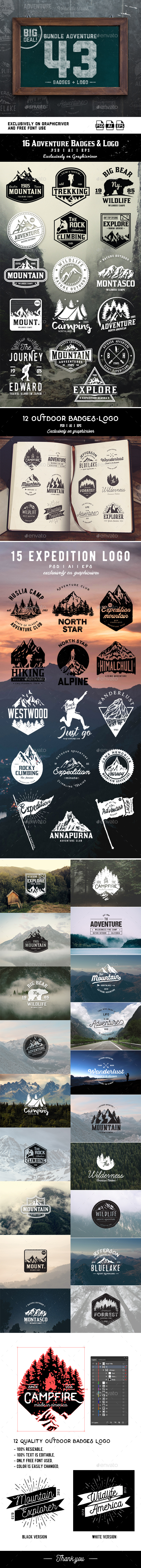 GraphicRiver Bundle Adventure 43 Badges & Logo 21152605