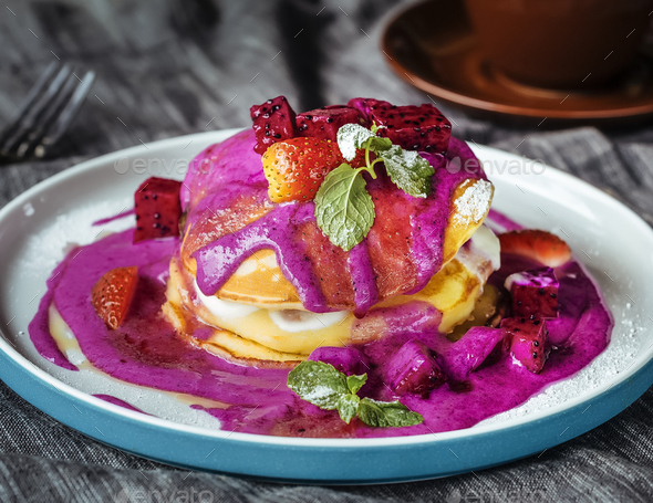 Tasty pancakes with dragon fruit - Stock Photo - Images