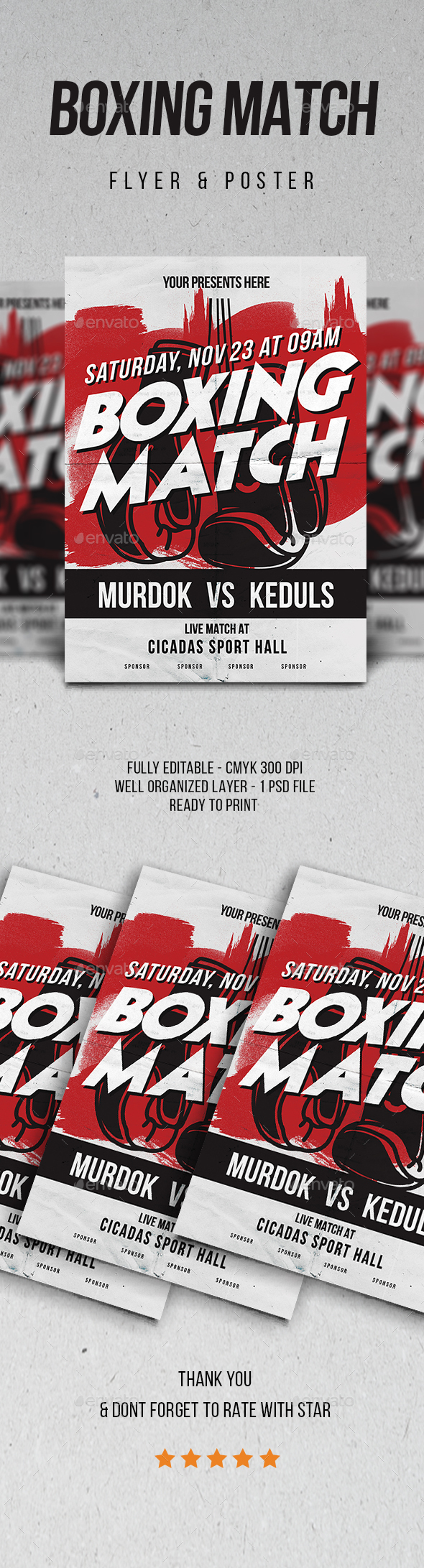 GraphicRiver Boxing Match Flyer Vol.2 21152622