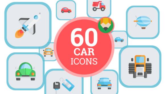 Car Train Bike Transportation Icon Set - Flat Animated Icons