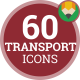 Bicycle Rocket Motorcycle Scooter Boat Transport Icon Set - Flat Animated Icons