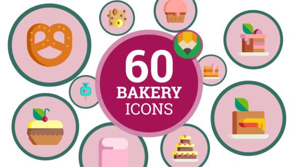 Dessert Eat Cake Sweet Bakery Products Icon Set - Flat Animated Icons