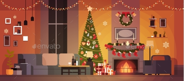 GraphicRiver Living Room Decorated For Christmas And New Year 21152821