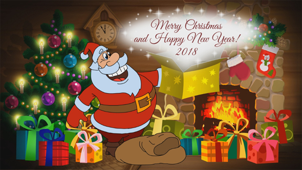 christmas and new year animated card in different languages set by