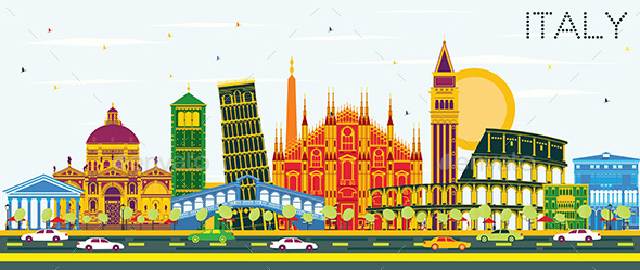 GraphicRiver Italy City Skyline with Color Landmarks Vector Illustration 21152885
