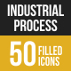 50 Industrial Process Filled Low Poly Icons