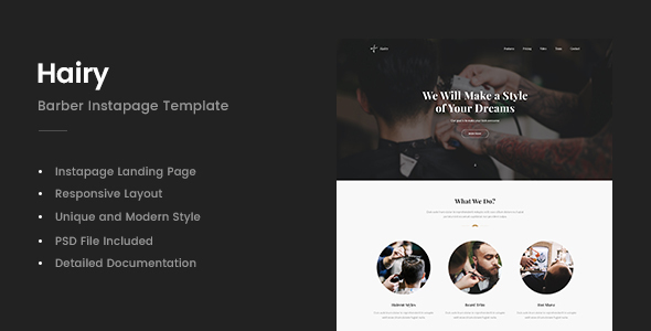 Hairy - Barber Instapage Template