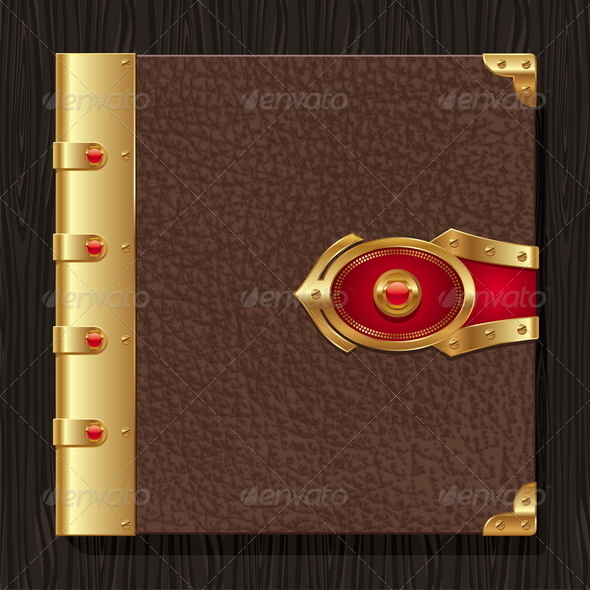 Vintage Leather Book Hardcover - Objects Vectors