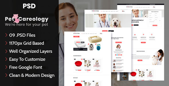 Pet Careology. Pet Care & Shop PSD Template