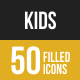 50 Kids Filled Low Poly Icons