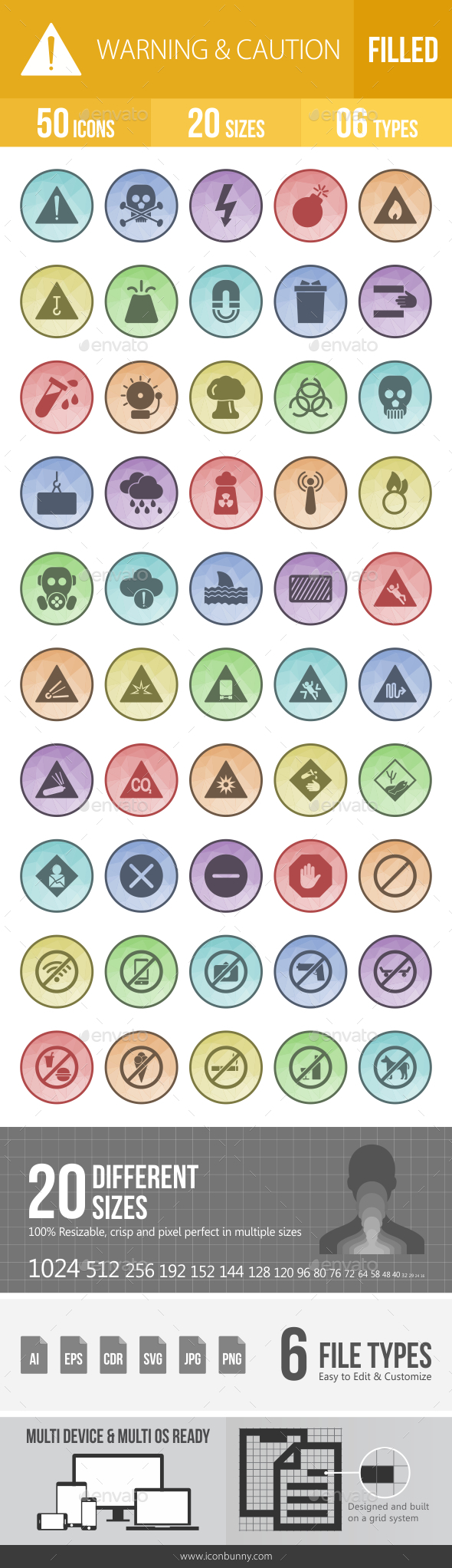 GraphicRiver 50 Warning & Caution Filled Low Poly Icons 21153139