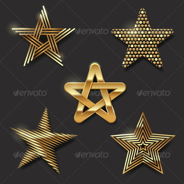 Set of Golden Decorative Stars - Decorative Symbols Decorative