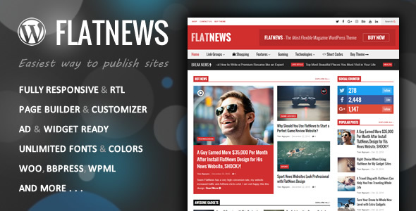 FlatNews – Responsive Magazine WordPress Theme - News / Editorial Blog / Magazine