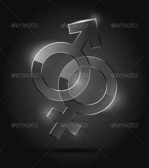 Venus and Mars Glass Signs - Decorative Symbols Decorative