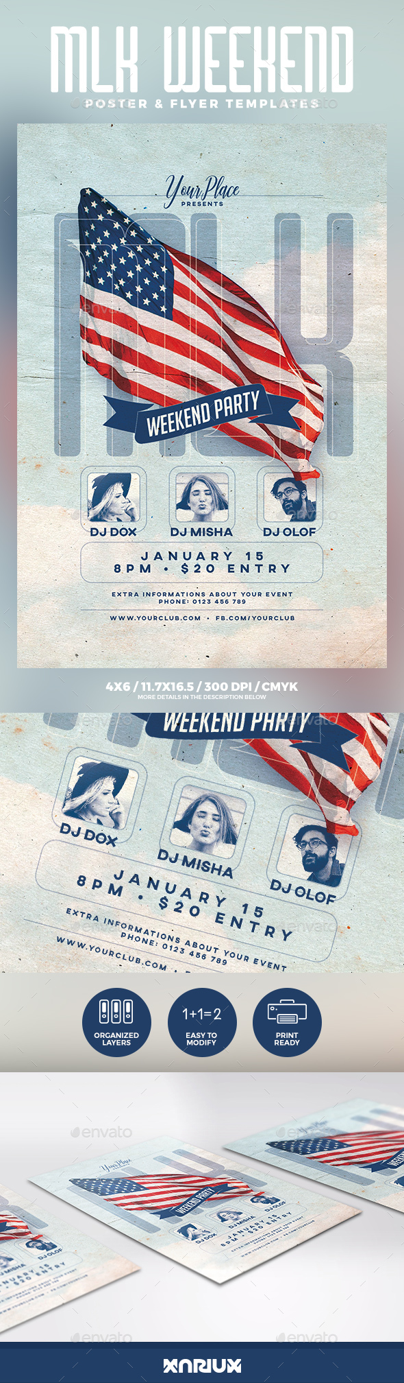 GraphicRiver MLK Weekend Party Flyer 21153165