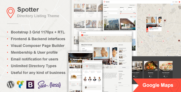 Spotter – Universal Directory Listing WordPress Theme - Directory & Listings Corporate